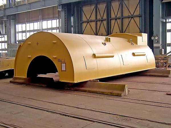 Machine housings, casings of industrial furnaces